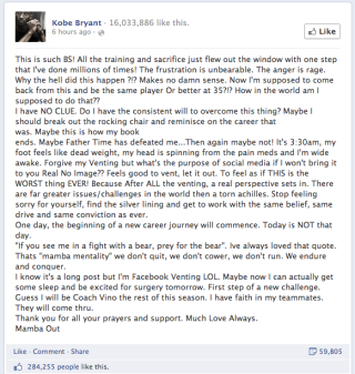 Kobe's Post-Injury Facebook Rant